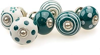 Möbelknopp möbelknopp möbelhandtag set om 6 092GN punkter cirklar avlopp vit mörk grön – jay knapp keramik porslin handmål...