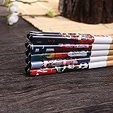 5 Paar Set Essstäbchen Japanische Natur Chopsticks aus umweltfreundlichem Bambus-Holz in edler Schatulle Geschenkbox(Cat) - 5