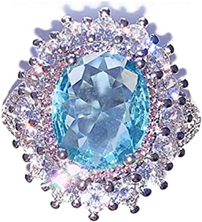 Digital Baby Sparkling 925 Sterling Silver Created Gemstone Aquamarine & Pink Sapphire Ring for Women Wedding Engagement Party Jewelry Size 6 7 8 9 10