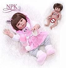 Redland Art Redland Art Straight Hair 49CM Bebe Doll Reborn Toddler Girl in Pink Rabbit Dress Full Body Soft Silicone Realistic Baby Bath Toy (Color : Brown Eye, Size : 49CM)