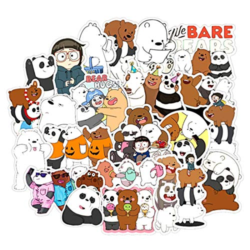100Pcs American Cartoon We Bare Bears Stickers for Water Bottle Cup Laptop Guitar Car Motorcycle Bike Skateboard Luggage Box Vinyl Waterproof Graffiti Patches JKT
