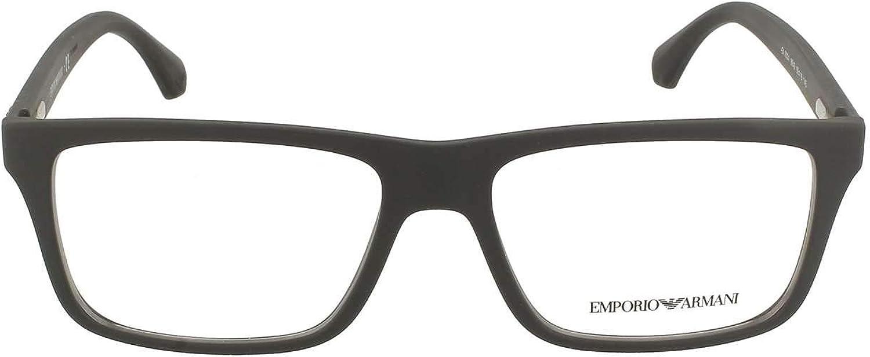 Armani EA3034 Eyeglass Frames 5649-55 - Black Rubber EA3034-5649-55
