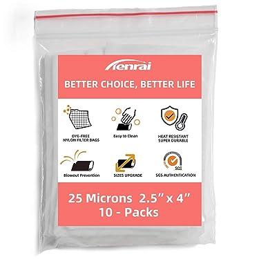 "TENRAI 丨2.5"" x 4""丨Nylon Rosin Tea Filter Screen Press Bags丨25 Micron丨10Packs丨Reusable丨 Heat resistant durable"