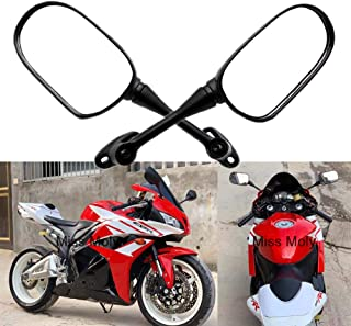 YSMOTO Specchietti retrovisori Laterali per Moto Honda CBR 600RR CBR600RR 2003-2017 CBR 1000RR CBR1000RR 2004-2007 Sport Bike con 2 specchietti in plastica Nera