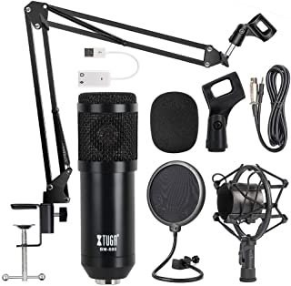 OWLVIEW Condenser Microphone BM800 Professional Studio Vocal Recording Mic with Sound Card  for Broadcasting Voice-Over Karaoke