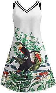 Nouveau Femme Fleur Sans Manches Oiseau Imprimer Court Femmes Robe Moulante