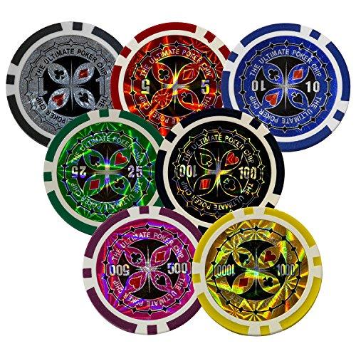 Ultimate Black Edition Pokerset, 300 hochwertige 12 Gramm METALLKERN Laserchips, 100% PLASTIKKARTEN, 2x Pokerdecks, Alu Pokerkoffer, 5x Würfel, 1x Dealer Button, Poker, Set, Pokerchips, Koffer, Jetons - 5