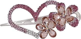 Supernine Pink White Crystal Rhinestone Flowers Love Hair Pin fork Clip for Women Lady Girl Dressing Fashion