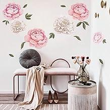 decalmile Muurstickers Gigantische pioenrozen Muurtattoos Romantisch bloemen Wanddecoratie Meisje Kamer Slaapkamer Huiskam...