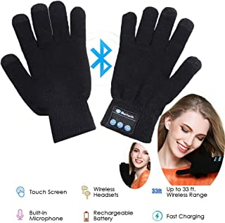 Wireless Bluetooth Gloves, Winter Gloves, Wireless Bluetooth Talking Touchscreen Glove, Smart Gloves Removable Headphones for Outdoor Sports, Unique Christmas Tech Gifts for Teen Young Boys Girls Men