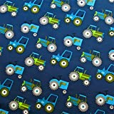 0,5m Jersey Trecker dunkelblau Traktor 5% Elasthan 95%