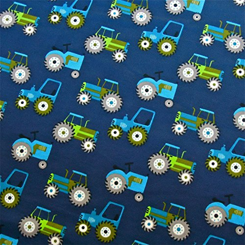 0,5m Jersey Trecker dunkelblau Traktor 5% Elasthan 95% Baumwolle Meterware 140cm breit