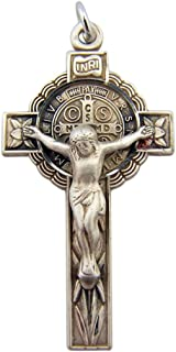 HMHReligiousMfg Sterling Silver Saint Benedict of Nursia Floral Cross Crucifix, 1 5/8 Inch