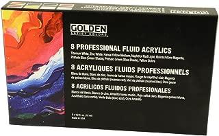 Golden Fluid Acrylic, 1/2 Ounce Set Of 8, Assorted Colors