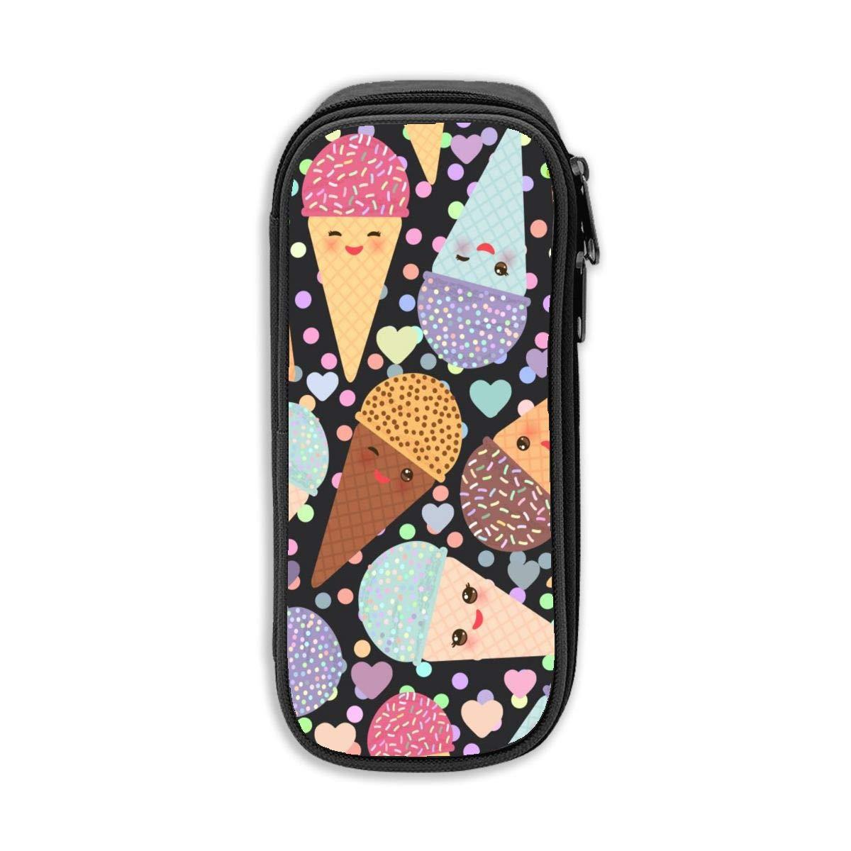Kawaii - Estuche para lápices de helado con forma de cono de helado, gran capacidad, estuche para lápices, papelería para estudiantes, bolsa de almacenamiento de cosméticos, color negro talla única: Amazon.es: Oficina