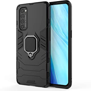 EasyLifeGo for OPPO Reno 4 Pro Case Hybrid Heavy Duty Armor Dual Layer Anti-Scratch Case Cover with Kickstand, Black
