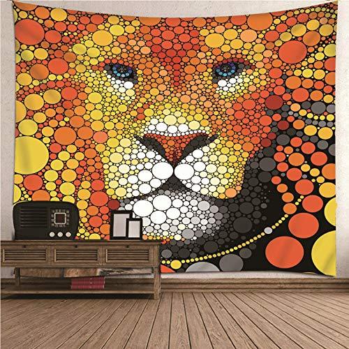 Aimsie Tapiz de pared con diseño de león, poliéster, 150 x 150 cm