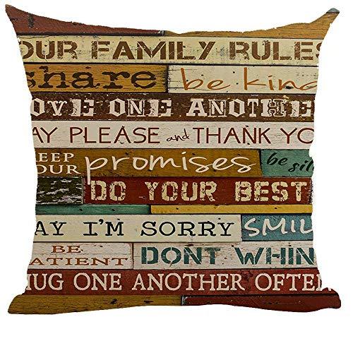 Kysd43Mill Fundas de almohada decorativas de algodón y lino, 45,7 x 45,7 cm para sofá, cama, coche, diseño con texto en inglés 'Family Rules Share Be Kind'