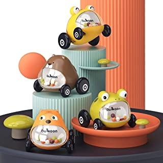 GILOBABY Baby Car Toys 4 Pack Push and Go Mini Animals Cartoon Cars Toy, Educational Preschool Learning Color Vehicle Play...