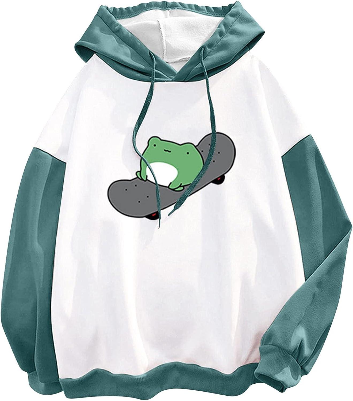 ORT Womens Sweatshirts and Hoodies, Frog Sweatshirt for Womens Long Sleeve Hoodie Teen Girl Lovely Pullover Casual Funny Top