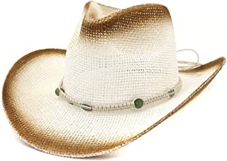 XinLin Du Fashion Straw Cowboy Hat Women Men Beach Hat Summer Outdoor Beach Sunscreen Woven Rope Sun Hat