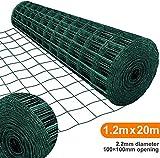 Amagabeli 1.2M X 20M Drahtzaun Gartenzaun Maschendraht Grünen Maschenweite 100 x 100mm Drahtgitter-Rolle Gartenzaun RAL6005...