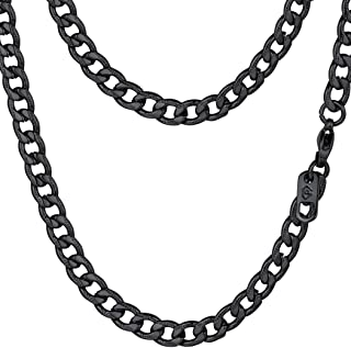 PROSTEEL Stainless Steel Cuban Chain Necklaces/Bracelets for Men Women, Black/18K Gold Plated, Nickel-Free, Hypoallergenic...