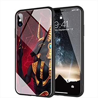 iPhone Xs Max Case, Tempered Glass Back Cover Soft Silicone Bumper Compatible with iPhone Xs Max AMB-33 Ancient Egypt Nefertiti Anubis Ankh Pharaoh