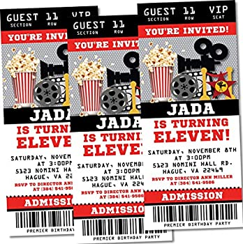 Movie Birthday Party Ticket Invitations Movie Star Birthday Party Invitations