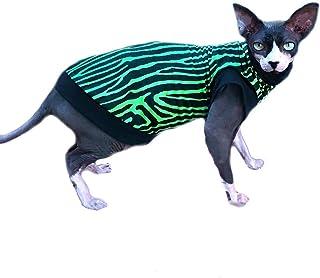 Sphynx Cat Shirt Bright Green and Black Zebra Print - Clothes Clothing T Cotton Top Vest Coat Jumper Sweater Hairless Kitt...