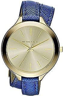 Michael Kors Slim Runway Champagne Dial Blue Leather Double Wrap Ladies Watch MK2286