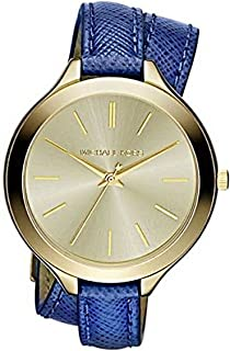 Michael Kors Slim Runway Champagne Dial Blue Leather Double Wrap Ladies Watch MK2286