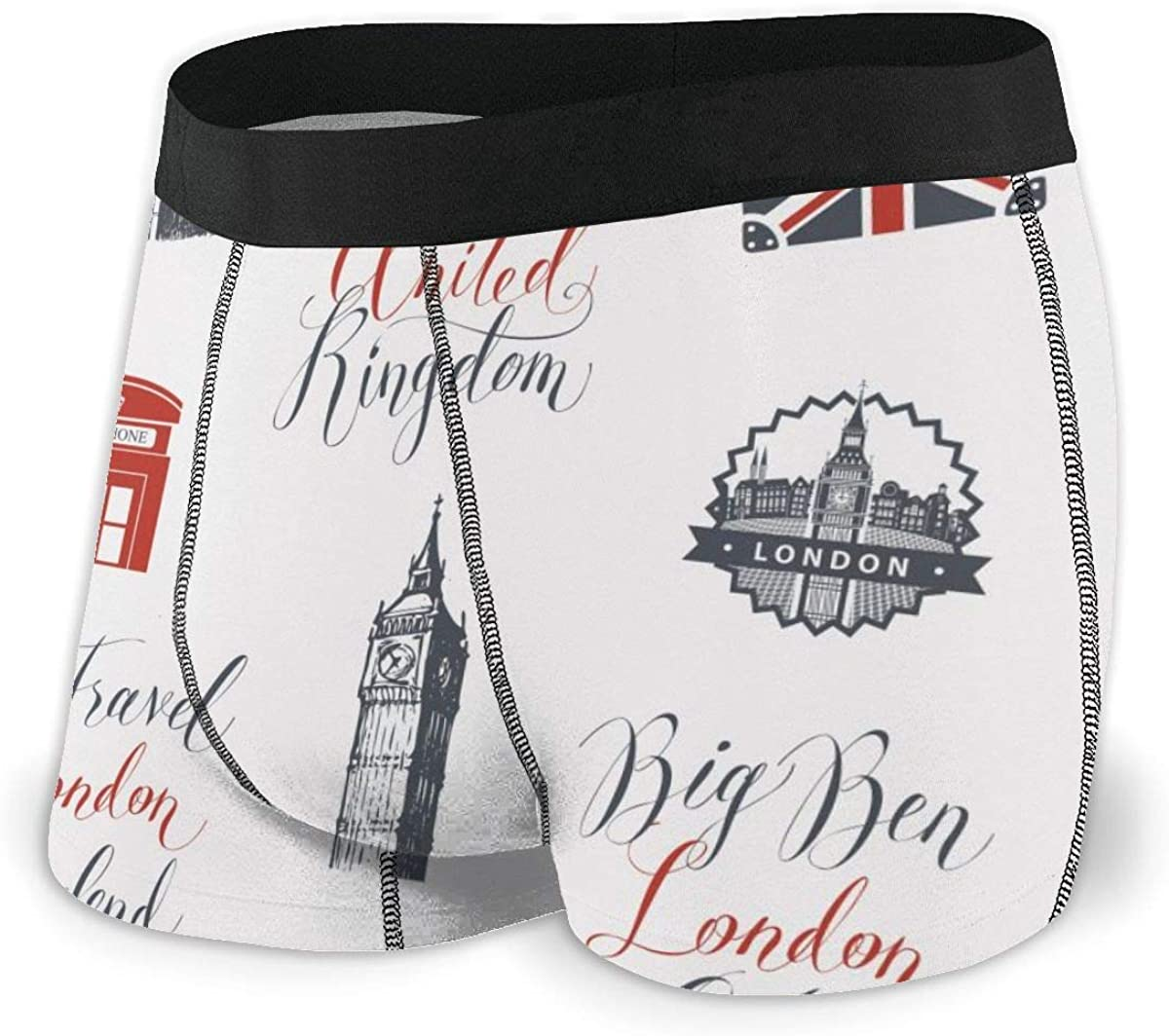 Randolph Wordsworth Mens Boxer Briefs Vector Seamless UK and London Breathable Underwear