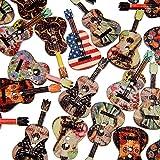 50 botones de madera mezclados, 2 agujeros, forma de guitarra, para costura, álbumes de recortes, color al azar qingsb