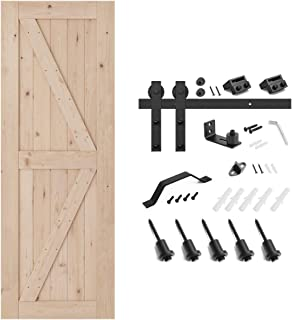 SMARTSTANDARD 30in x 84in Sliding Barn Door with 5ft Barn Door Hardware Kit & Handle, Pre-Drilled Ready to Assemble, DIY Unfinished Solid Hemlock Wood Panelled Slab, K-Frame
