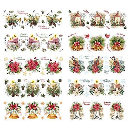 Transparent-Sticker, 10 Bogen à 10cm x 30cm   Bunte Aufkleber zum Basteln & Dekorieren (Weihnachtliche Florisitk)