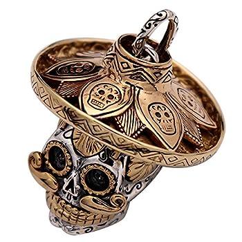 Gothic Medium 925 Sterling Silver Mexican Sugar Skull Pendant Rose Gold Hat Biker Jewelry for Men Women