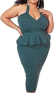 Rebdolls Women's Cocktail Sweetheart Halter Neckline Green Holiday Bodycon Midi Dress Peplum Plus Sizes