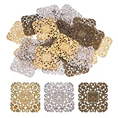 Muti-Colors Available: totally 60pcs filigree pendant connectors in 3 colors: antique bronze, light gold and platinum; each color 20pcs. Enough choices to meet your different needs. Suitable Size:filigree findings are in square shape, 51mm(2inch) in ...