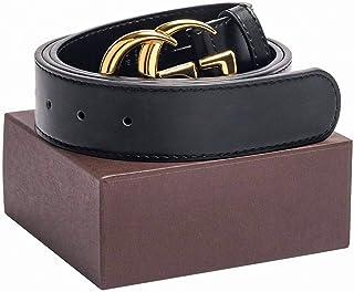 Gold/Silver Buckle Black Leather Unisex Fashion Belt for Men or Women Pants Jeans Shorts Dresses ~ 3.8cm Belt Width