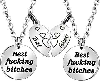 JJIA Best Friend Necklaces for 2, Friendship Necklace with Broken Heart Pendant Christmas Birthday Gifts