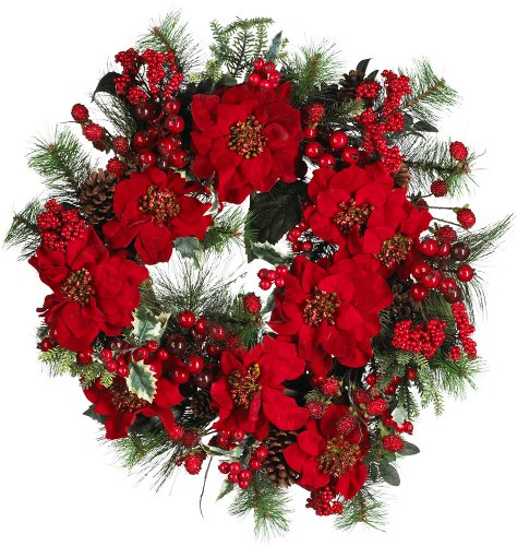 Nearly Natural 4660 Poinsettia Wreath Holiday, 24-Inch