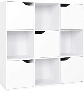 Homfa Librería Estantería de Pared para Libros y Almacenaje con 9 Cubos y 5 Puertas 90x29x90cm