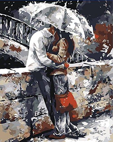 YEESAM ART Nouvelles Peinture au Numero pour Adulte Enfants - Baiser Romantique Pont Romantic Kiss Bridge 40x50 cm - DIY Painting by Numbers numéro Cadeaux de noël