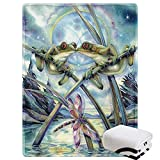 Morebee Frog Dragonfly Fleece Throw Blanket Personalized Soft Lightweight Blanket for Bed Couch Sofa Travelling Camping for Kids Girls Boys Adults(45'x 60')