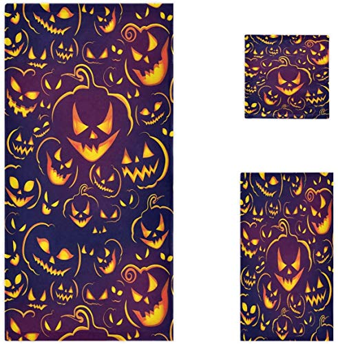 MSJXNF Halloween Horror Pumpkin Ghost Laughing Pattern Soft Set de 3 toallas, 1 toalla de baño+1 toalla de mano+1 toalla, multiusos para baño, hotel, gimnasio, spa y cocina