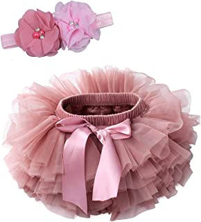 Baby Girls Tutu Bloomers Diaper Cover Cotton Tulle Bloomers and Headband Set 6M-3T