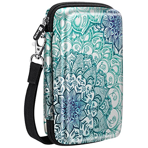 Fintie Carry Case for Kodak Mini 2 HD/Step Wireless Mobile Photo Mini Printer/Mini Shot 2 in 1 Camera & Printer- Hard EVA Shockproof Travel Bag with Inner Pocket/Removable Strap, Emerald Illusions