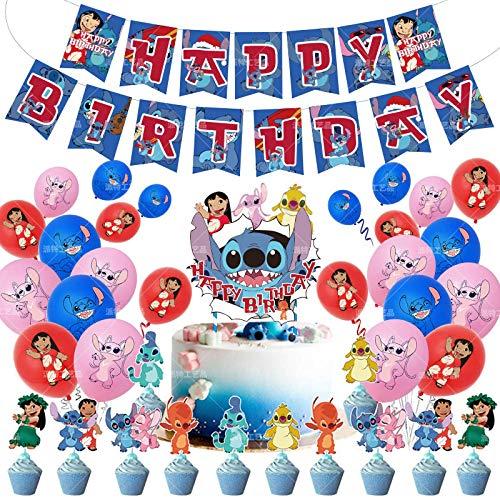 shengping Star Baby Stitch Tema Fiesta De CumpleañOs DecoracióN Stitch NiñOs CumpleañOs Globo Bandera Conjunto