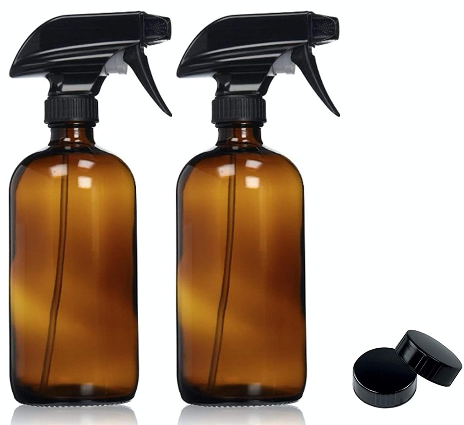 Glass Spray Bottles (2 Pack) - Ganoteck 16oz Refillable Container for Essential Oils, Cleaning Products, or Aromatherapy - Durable Black Trigger Sprayer w/Mist and Stream Settings